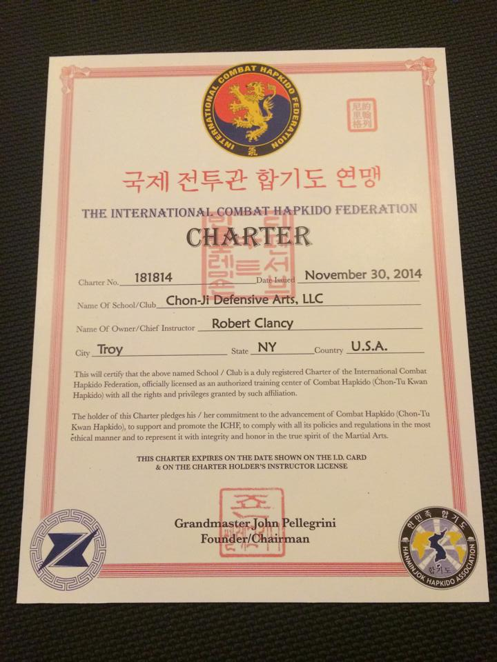 Chon-Ji Defensive Arts School Charter